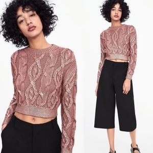Zara metallic cable knit cropped Sweater Small
